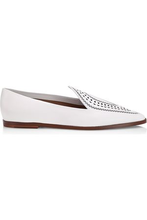 Azzedine Alaia Women Loafers - Women's Laser Cut Leather Loafers - Blanc Craie - Size 5.5