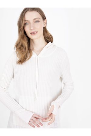 Cocoa Cashmere Essential Snow Ribbed Hoodie Jumper