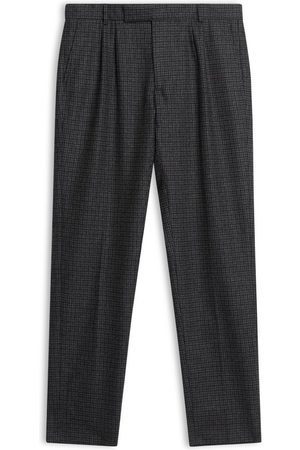 Burrows and Hare Men Jeans - Burrows & Hare Fox Brothers Flannel Check Trousers - Grey