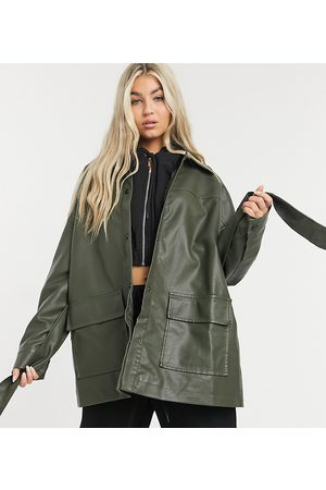 COLLUSION Oversized PU shacket in