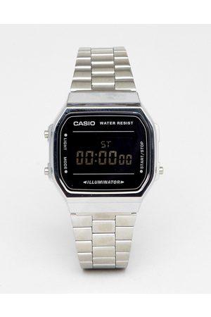 Casio A168W unisex digital bracelet watch in and black mirror