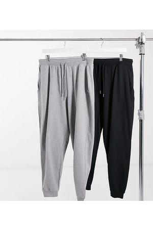 ASOS ASOS DESIGN Curve basic sweatpants with tie 2 pack in black and gray-Multi