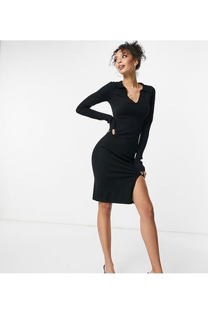 4th & Reckless Tall Knitted plunge front sweater dress with collar in