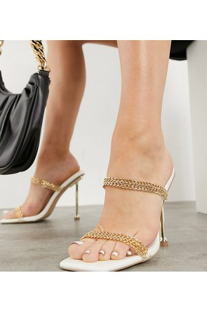 Simmi Wide Fit Simmi London Wide Fit Jessy mules with chain detail in