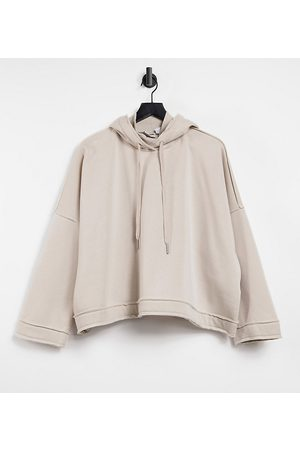 Noisy May Hoodie with high neck in stone-Grey