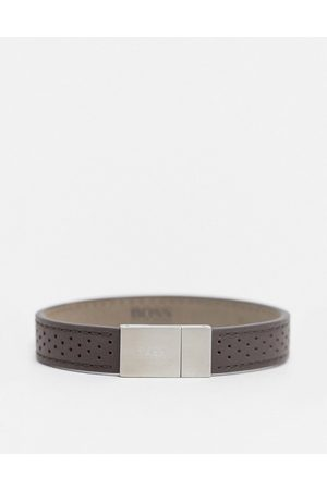 HUGO BOSS Hugo leather bracelet with silver clasp