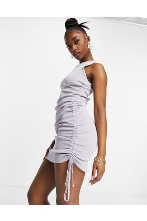 Lioness High neck ruched mini dress in dusty