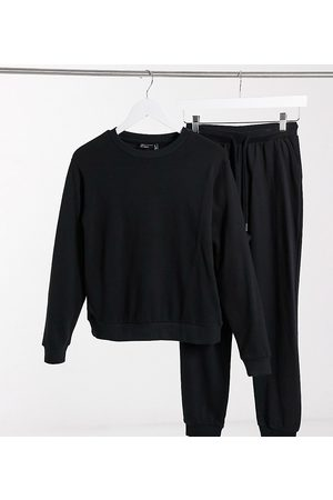 ASOS ASOS DESIGN Petite organic cotton tracksuit ultimate sweatshirt/sweatpants with tie in