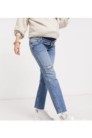 ASOS ASOS DESIGN Maternity high rise stretch 'effortless' crop kick flare jeans in midwash with thigh rip and over the bump waistband-Blues