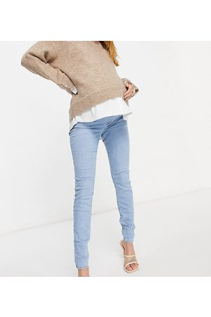 ASOS ASOS DESIGN Maternity high rise ridley 'skinny' jeans in stonewash with with over the bump waistband-Blues