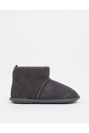 Sheepskin by Totes Suede slipper boots in -Grey