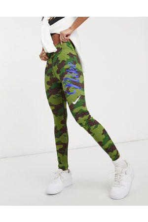 Nike Leg-A-See camo print leggings in green