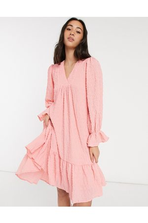 Y.A.S Textured mini smock dress with dipped hem and v-neck in