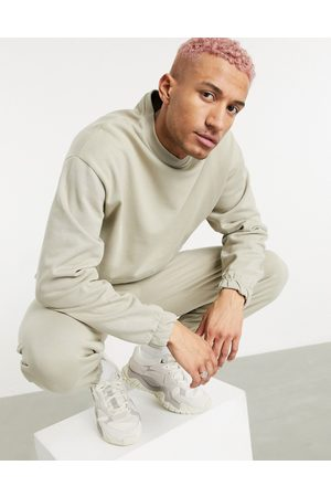 ASOS Tracksuit with oversized sweatshirt and oversized sweatpants in beige