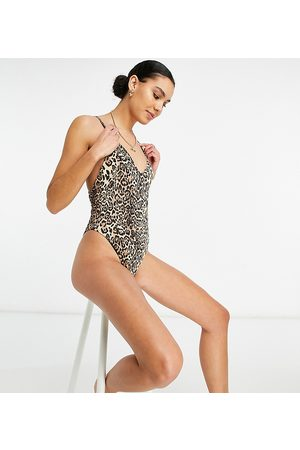 ASOS ASOS DESIGN Tall ribbed loop strappy back swimsuit in leopard print-Multi