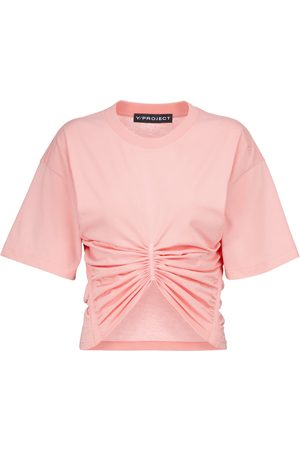 Y / PROJECT Ruched cropped cotton-jersey T-shirt