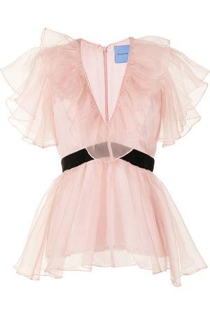 Macgraw Women Blouses - Chandelier peplum V-neck blouse