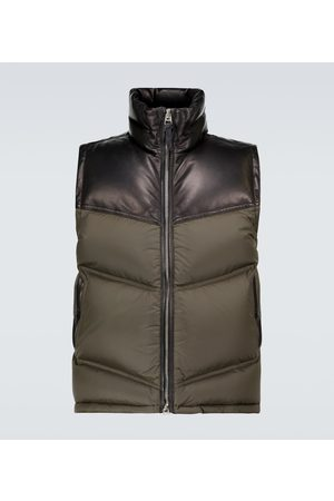 Tom Ford Men Gilets - Nylon and leather down-filled gilet