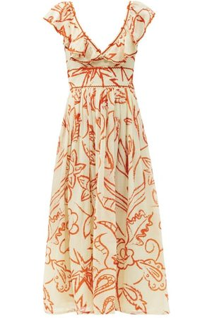 LE SIRENUSE, POSITANO Frida Ruffled Floral-print Cotton Dress - Womens - Print