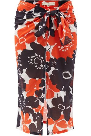Cala De La Cruz Heather Peony-print Cotton-voile Sarong - Womens - Print
