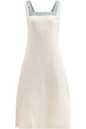 Casa Raki Dani Square-neck Organic-linen Midi Dress - Womens