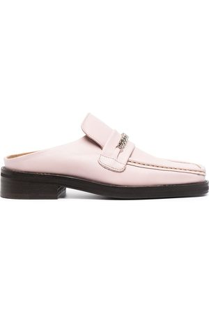 MARTINE ROSE Chain-embellished backless loafers