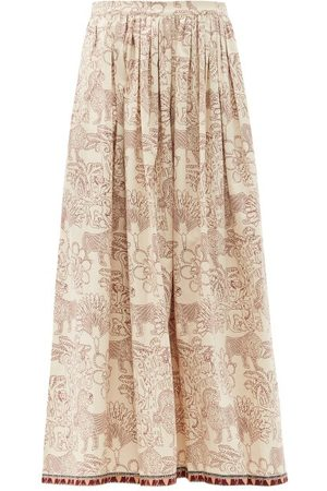 LE SIRENUSE, POSITANO Jane Lion And Monkey-print Cotton Midi Skirt - Womens - Print