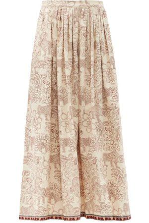 LE SIRENUSE, POSITANO Women Printed Skirts - Jane Lion And Monkey-print Cotton Midi Skirt - Womens - Print