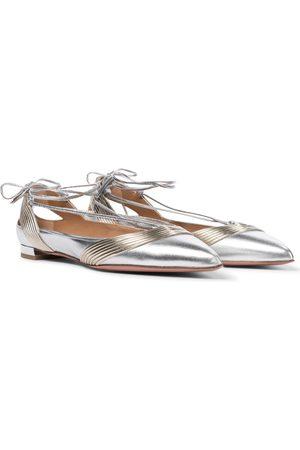 Aquazzura Ari metallic leather ballet flats