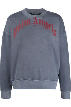 Palm Angels Curved-logo crew neck sweatshirt - Grey