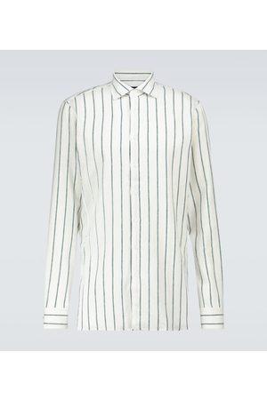 LARDINI Striped flax-blend shirt