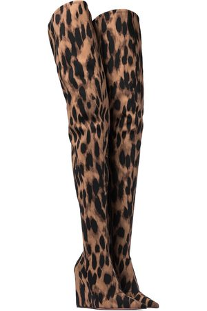 Amina Muaddi Danielle leopard-print over-the-knee boots