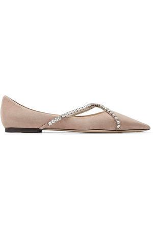Jimmy Choo Women Ballerinas - Genevi crystal-embellished ballerina shoes