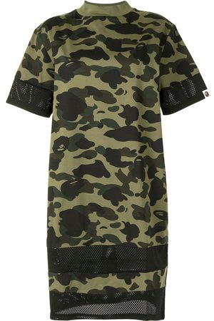 A Bathing Ape Women Printed Dresses - Camouflage-print mesh-panel T-shirt dress