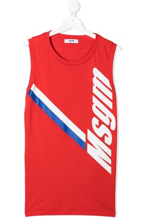 Msgm Boys Tank Tops - Logo-print cotton vest