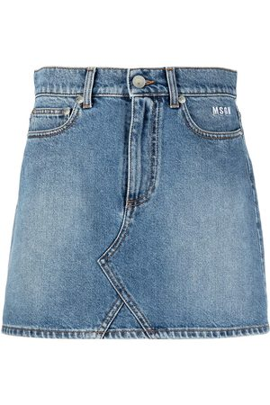Msgm Logo-print denim miniskirt