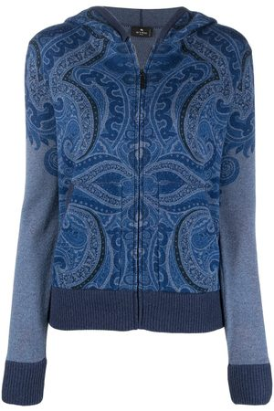 Etro Women Hoodies - Paisley print cashmere hoodie