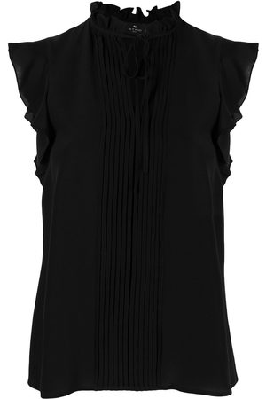 Etro Pleated bib sleeveless silk blouse