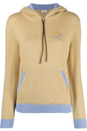Etro Women Hoodies - Embroidered logo knitted hoodie - Neutrals