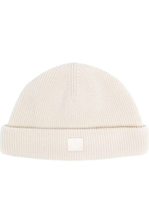 Acne Studios Beanies - Face-patch knitted beanie - Neutrals