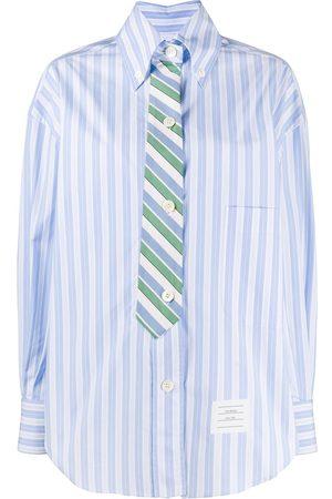 Thom Browne Women Shirts - Tie effect cotton stripe shirt