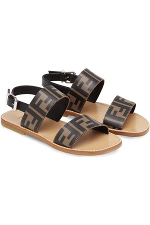 Fendi Girls Sandals - FF-logo print leather sandals