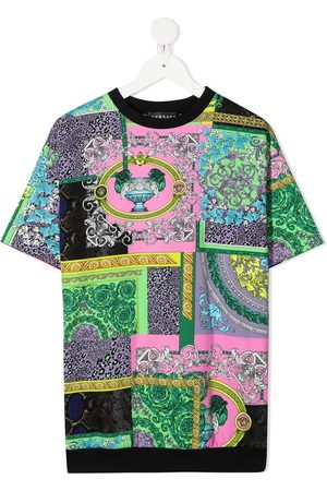 VERSACE Girls Casual Dresses - Patchwork print T-shirt dress
