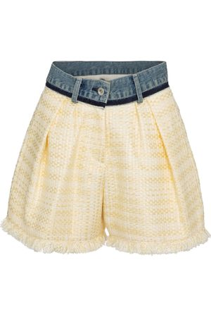 SACAI Denim-trimmed tweed shorts