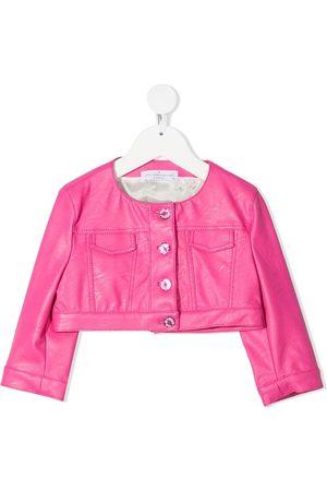 COLORICHIARI Faux-leather cropped jacket