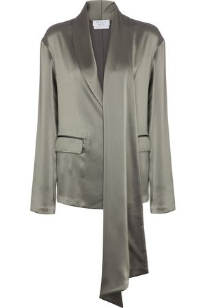 Deveaux New York Sheila sash-tie satin blazer