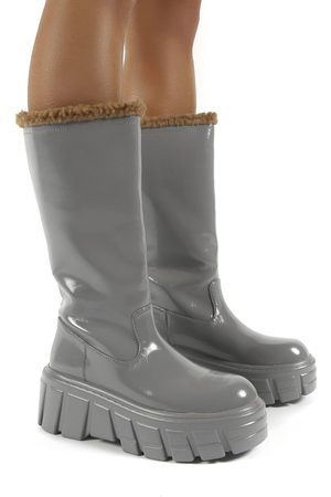 Public Desire US Women Ankle Boots - Wynter Shearling Lined Knee High Ankle Boots - US 5