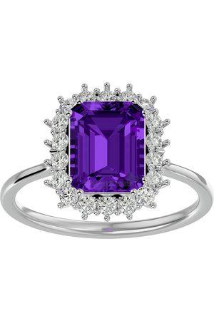 SuperJeweler Women Rings - 2.5 Carat Amethyst & Halo 18 Diamond Ring in 14K (3.70 g)