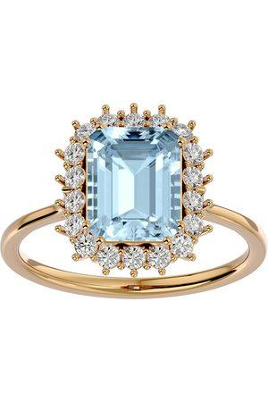 SuperJeweler Women Rings - 2.5 Carat Aquamarine & Halo 18 Diamond Ring in 14K (3.70 g)