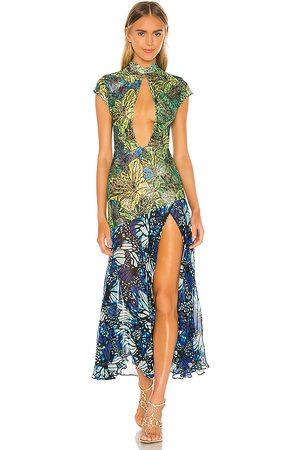 KIM SHUI Lace Butterfly Dress in Green.